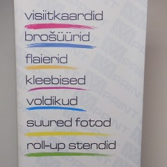 X-banner graphic on PVC material