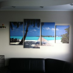 Canvas from 4 parts, palm beach