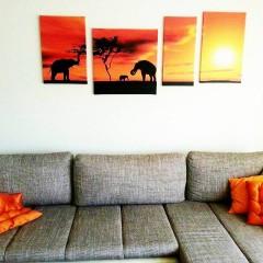 Canvas four-part elephant image