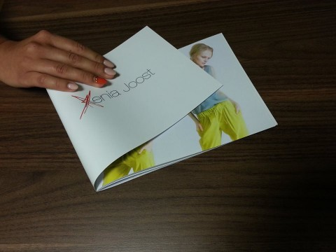 Landscape brochure with laminated glossy cover