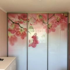 Принт с цветами на раздвижные двери